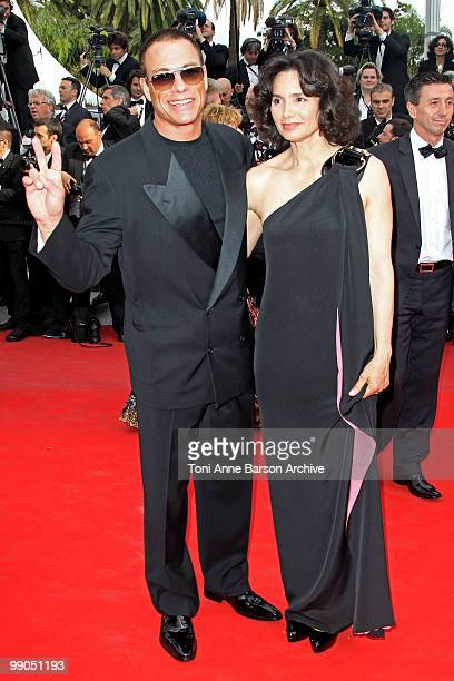 Actor JeanClaude Van Damme and Gladys Portugues attend the Opening Night Premiere of 'Robin Hood' at the Palais des Festivals during the 63rd Annual...
