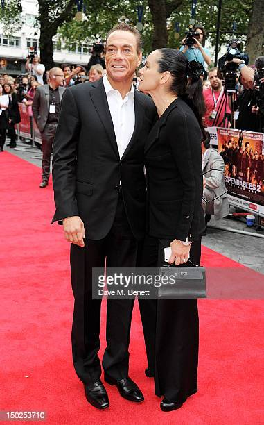 Actor Jean-Claude Van Damme and Gladys Portugues attend the UK Film Premiere of 'The Expendables 2' at Empire Leicester Square on August 13, 2012 in...