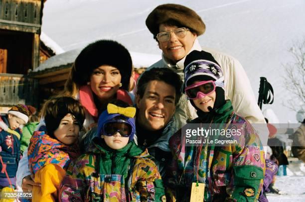 Actor JeanClaude Van Damme and his family on vacation at a ski resort niece Alexandra Van Varenberg girlfriend Darcy La Pier daughter Bianca Van...