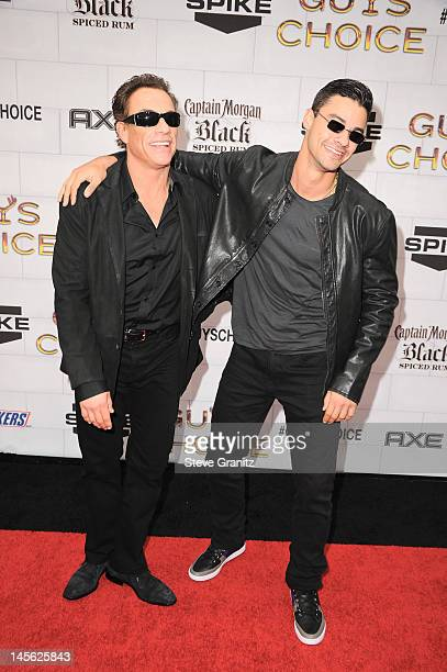 Actor JeanClaude Van Damme and his son Kristopher Van Varenberg arrive at Spike TV's 6th Annual Guys Choice Awards at Sony Studios on June 2 2012 in...
