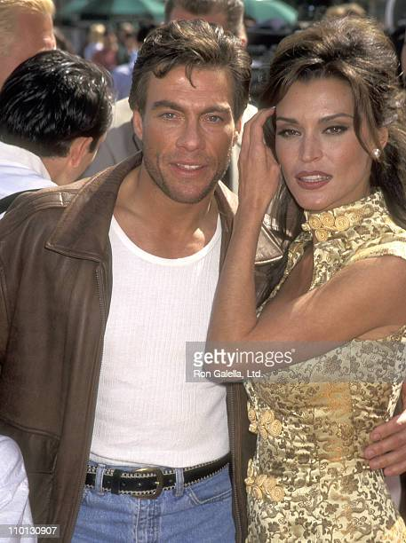 """Actor Jean-Claude Van Damme and Model Darcy LaPier attend """"The Quest"""" Universal City Premiere on April 20, 1996 at Cineplex Odeon Universal City..."""