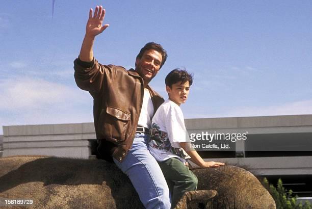 Actor JeanClaude Van Damme and son Kristopher van Varenberg attend 'The Quest' Universal City Premiere on April 20 1996 at Cineplex Odeon Universal...