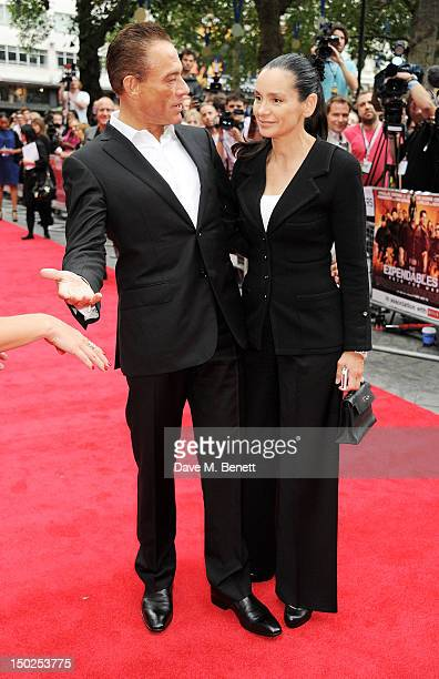 Actor Jean-Claude Van Damme and wife Gladys Portugues attend the UK Film Premiere of 'The Expendables 2' at Empire Leicester Square on August 13,...
