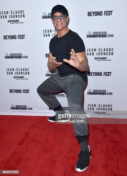 Actor Jean-Claude Van Damme arrives at the Beyond Fest screening of Amazon's 'Jean-Claude Van Johnson' at The Egyptian Theatre on October 9, 2017 in...
