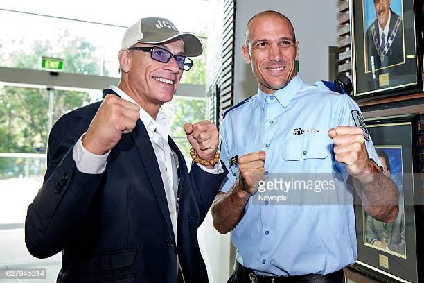 COAST QLD Actor JeanClaude Van Damme meets Gold Coast Council Security guard Roberto Serola during his meeting with the Mayor on the Gold Coast...