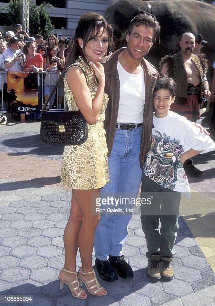 Actor JeanClaude Van Damme Model Darcy LaPier and his son Kristopher van Varenberg attend The Quest Universal City Premiere on April 20 1996 at...