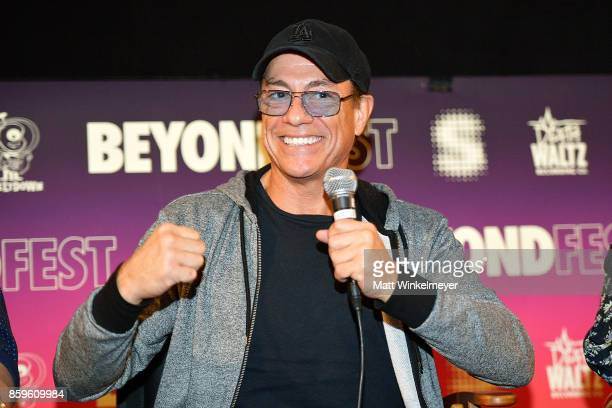 Actor JeanClaude Van Damme speaks onstage during the Beyond Fest screening and Cast/Creator panel of Amazon Prime Video's exclusive series JeanClaude...