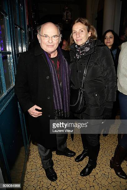Actor JeanFrancois Stevenin and his wife Claire attend 'Big Bang' Premiere Theater Play at Theatre du Gymnase on February 8 2016 in Paris France