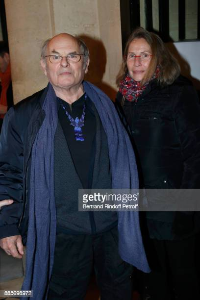 Actor JeanFrancois Stevenin and his wife Claire attend the Tribute to Actress Jeanne Moreau at Odeon Theatre on December 4 2017 in Paris France