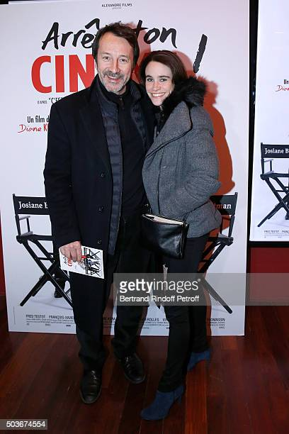 Actor JeanHugues Anglade and his wife Charlotte attend the Arrete Ton Cinema Paris Premiere at Publicis Champs Elysees on January 6 2016 in Paris...