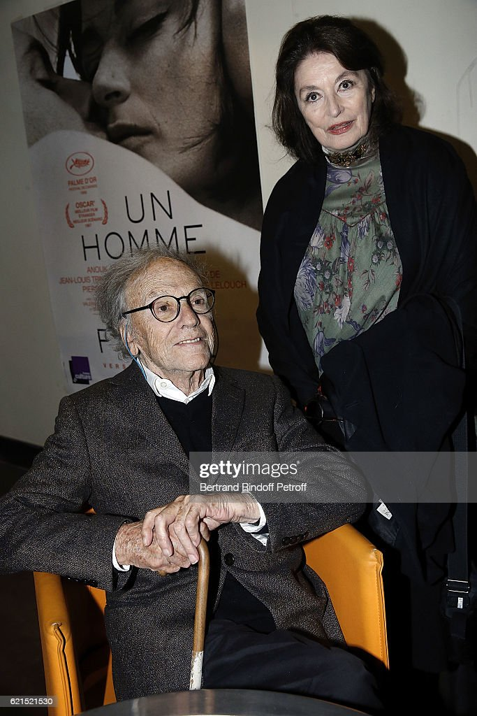 Actor Jean-Louis Trintignant and Actress Anouk Aime attend 'Un Homme et Une Femme' screening for its 5Oth Anniversary at l'Arlequin on November 6, 2016 in Paris, France.