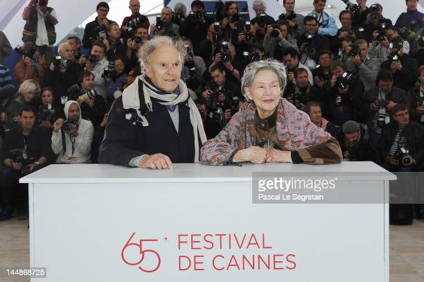 Actor JeanLouis Trintignant and actress Emmanuelle Riva pose at the 'Amour' Photocall during the 65th Annual Cannes Film Festival at Palais des...