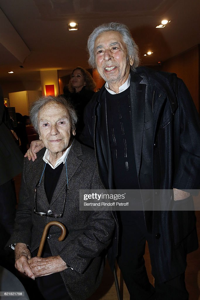 Actor Jean-Louis Trintignant and Musician Francis Lai attend 'Un Homme et Une Femme' screening for its 5Oth Anniversary at l'Arlequin on November 6, 2016 in Paris, France.