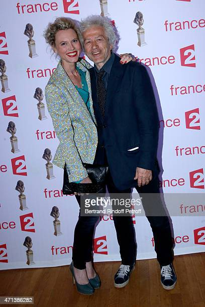 Actor JeanLuc Moreau and his wife Mathilde Penin attend the 27th 'Nuit Des Molieres' 2015 Held at Folies Bergere on April 27 2015 in Paris France