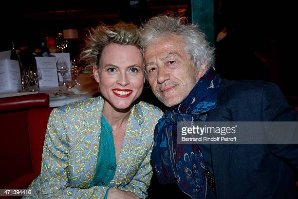 Actor JeanLuc Moreau and his wife Mathilde Penin attend the Dinner after the 27th 'Nuit Des Molieres' 2015 Held at Closerie des Lilas on April 27...