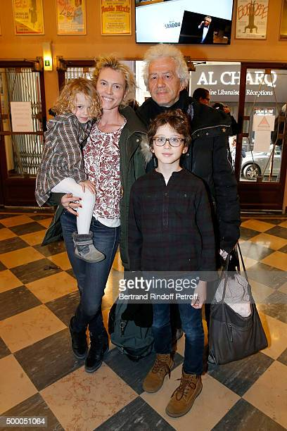 Actor JeanLuc Moreau attend the Il Etait Une Fois Theater Play at Theatre de La Michodiere with his wife Mathilde Penin and their children...