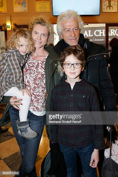 Actor JeanLuc Moreau attends the Il Etait Une Fois Theater Play at Theatre de La Michodiere with his wife Mathilde Penin and their children...
