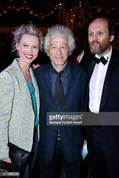 Actor JeanLuc Moreau standing between his wife Mathilde Penin and President of Molieres JeanMarc Dumontet attend the 27th 'Nuit Des Molieres' 2015...