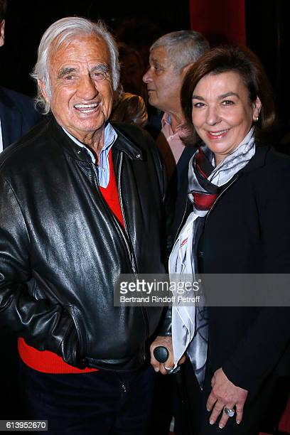 Actor JeanPaul Belmondo and Carole Amiel attend the Ivo Livi ou le destin d'Yves Montand Theater Play at Theatre de la Gaite Montparnasse on October...