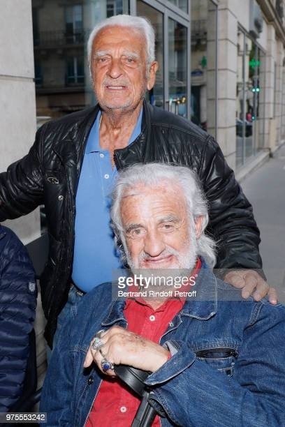 Actor JeanPaul Belmondo and his brother Alain Belmondo attend the Street Art butterflies by JeanPaul's daughter Charlotte Joly Exhibition Preview at...