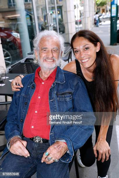 Actor JeanPaul Belmondo and his daughter Charlotte Joly attend the Street Art butterflies by Charlotte Joly Exhibition Preview at Veramente on June...