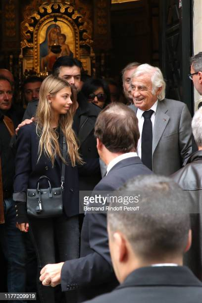 Actor JeanPaul Belmondo and his daughter Stella Belmondo attend the actor Charles Gerard's Funerals at SaintJeanBaptiste Armenian Apostolic Cathedral...