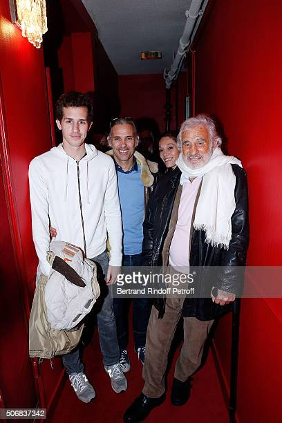 Actor JeanPaul Belmondo His Daughter Charlotte his son Paul Belmondo and his Grand Son Allessandro attend Theater Play 'A Tort Et A Raison' at...