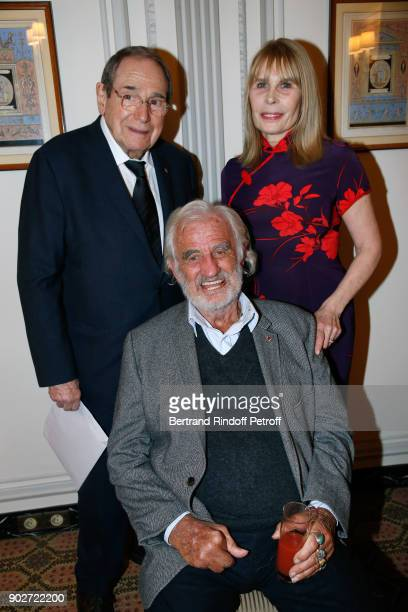 Actor JeanPaul Belmondo sitting between Director Robert Hossein and his wife Candice Patou attend Robert Hossein celebrates his 90th Anniversary at...