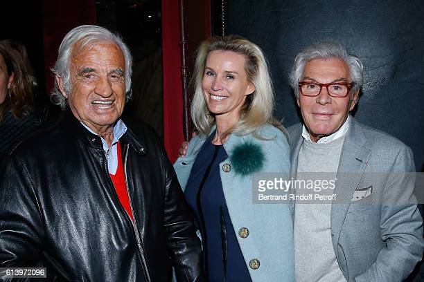Actor JeanPaul Belmondo with JeanDaniel Lorieux and his companion Laura Restelli attend the 'Ivo Livi ou le destin d'Yves Montand' Theater Play at...