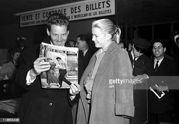 Actor JeanPierre Aumont and actress Grace Kelly during Cannes Film Festival