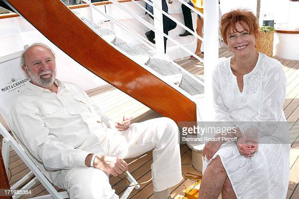 Actor JeanPierre Marielle with his wife actress Agathe Natanson attend 'Brunch Blanc' hosted by Groupe Barriere for Sodexho with a cruise in Paris on...