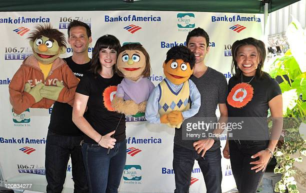Actor Jed Resnick actress Veronica J Kuehn actor Adam Kantor and actress Hazel Anne Raymundo from Avenue Q attend 1067 Lite FM Presents Broadway In...