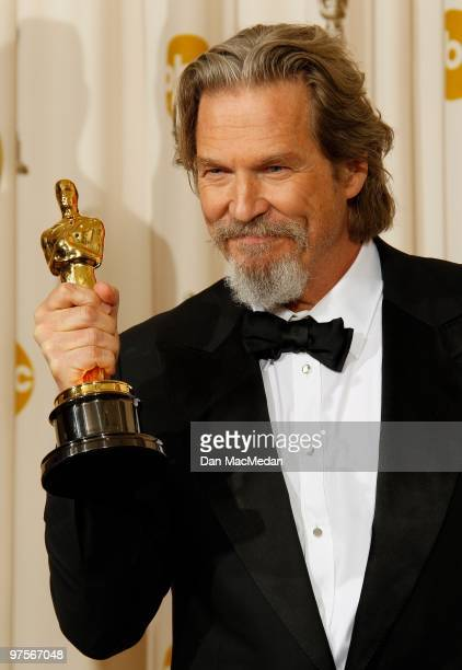 Actor Jeff Bridger winner for Best Actor for Crazy Heart poses in the press room at the 82nd Annual Academy Awards held at the Kodak Theater on March...