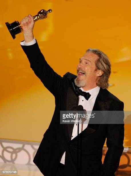 Actor Jeff Bridges accepts Best Actor award for 'Crazy Heart' onstage during the 82nd Annual Academy Awards held at Kodak Theatre on March 7 2010 in...