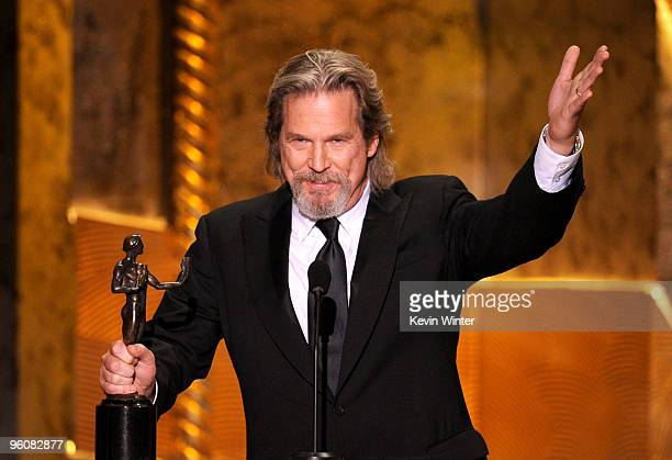 Actor Jeff Bridges accepts the Male Actor In A Leading Role award for Crazy Heart onstage at the 16th Annual Screen Actors Guild Awards held at the...