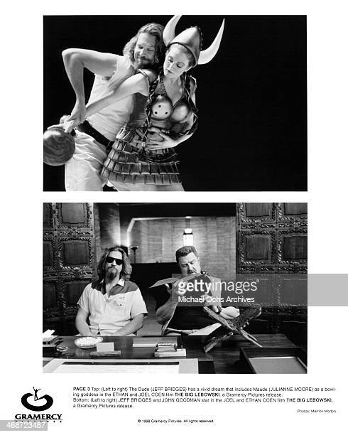 Actor Jeff Bridges and actress Julianne Moore actor Jeff Bridges and actor John Goodman on set of the Gramercy Pictures movie The Big Lebowski circa...
