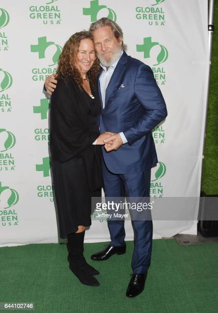Actor Jeff Bridges and environmentalist Dianna Cohen arrive at the 14th Annual Global Green PreOscar Gala at TAO Hollywood on February 22 2017 in Los...