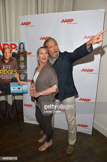 Actor Jeff Bridges and Susan Geston attend the Jeff Bridges lunch hosted by AARP The Magazine at Spago on August 1 2014 in Beverly Hills California