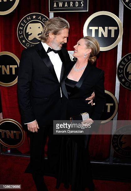 Actor Jeff Bridges and wife Susan Bridges arrive at the 17th Annual Screen Actors Guild Awards held at The Shrine Auditorium on January 30 2011 in...