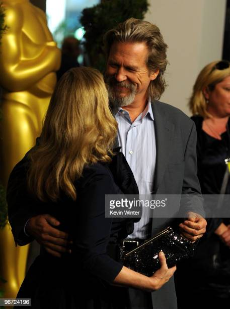 Actor Jeff Bridges and wife Susan Bridges pose at the 82nd annual Academy Awards Nominee Luncheon at Beverly Hilton Hotel on February 15 2010 in Los...