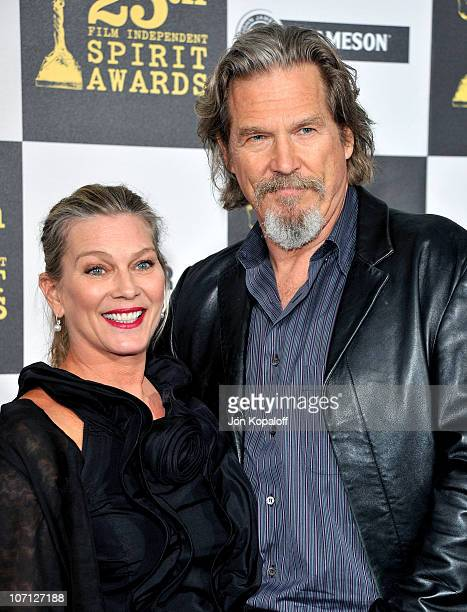 Actor Jeff Bridges and wife Susan Geston arrives at the 25th Film Independent Spirit Awards held at Nokia Theatre LA Live on March 5 2010 in Los...