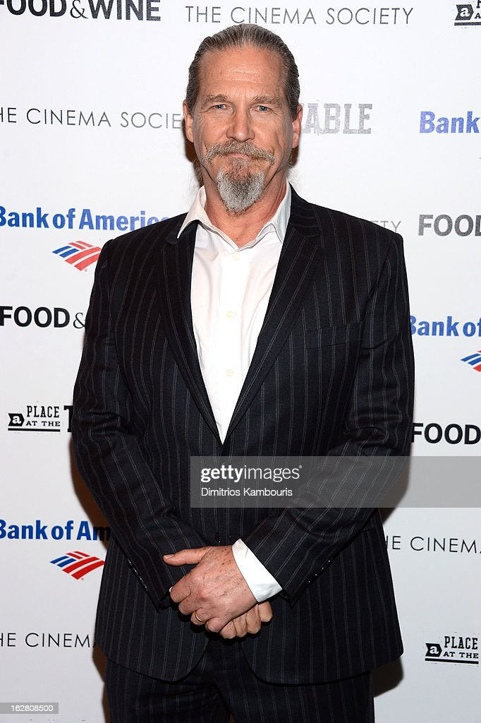 Actor Jeff Bridges attends the Bank of America and Food & Wine with The Cinema Society screening of 'A Place at the Table' at Museum of Modern Art on February 27, 2013 in New York City.