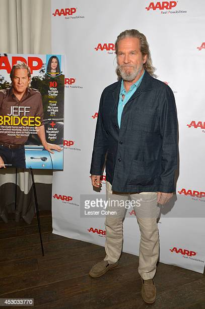Actor Jeff Bridges attends the Jeff Bridges lunch hosted by AARP The Magazine at Spago on August 1 2014 in Beverly Hills California