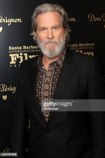 Actor Jeff Bridges visits the Dom Perignon Lounge before receiving the Riviera Award at The Santa Barbara International Film Festival on February 9...