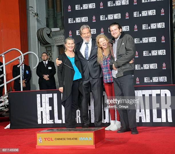 Actor Jeff Bridges with his wife Susan Geston and her sister and son at his Hand And Footprint Ceremony held at TCL Chinese 6 Theatres on January 6...