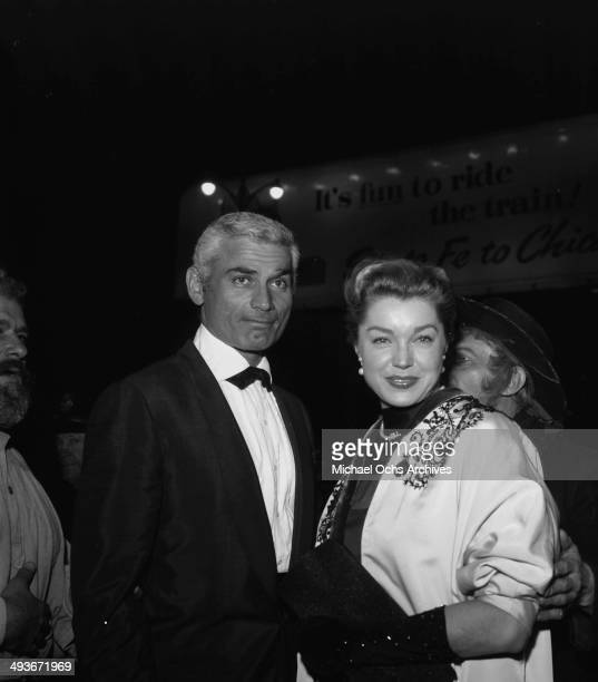 Actor Jeff Chandler attends a party with wife Marjorie in Los Angeles California