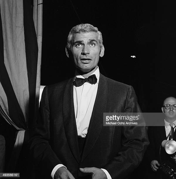 Actor Jeff Chandler attends the movie premiere party of Trapeze in Los Angeles California