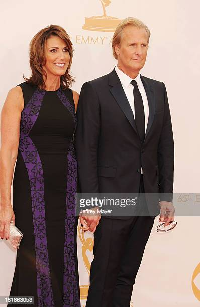 Actor Jeff Daniels and Kathleen Treado arrive at the 65th Annual Primetime Emmy Awards at Nokia Theatre LA Live on September 22 2013 in Los Angeles...