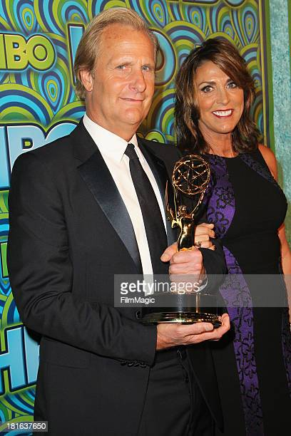 Actor Jeff Daniels and Kathleen Treado attend HBO's official Emmy After Party at The Plaza at the Pacific Design Center on September 22 2013 in Los...