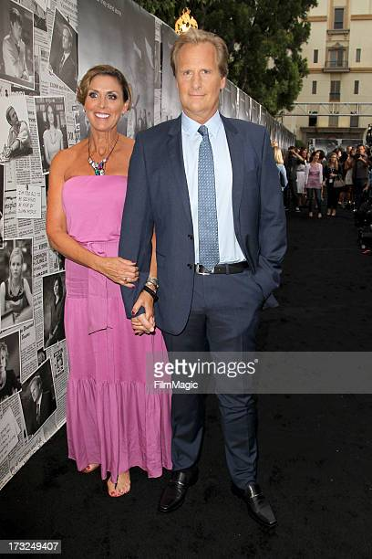 Actor Jeff Daniels and Kathleen Treado attend HBO's The Newsroom season 2 premiere at Paramount Studios on July 10 2013 in Hollywood California